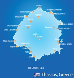 Island of thassos in greece map vector