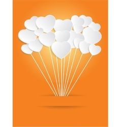 Valentines day of white paper heart on a orange vector