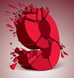 3d digital wireframe number 9 broken into vector image