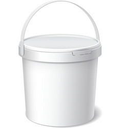 Small white plastic bucket product packaging vector