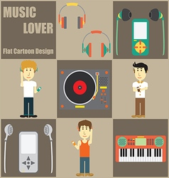 Music lover people flat cartoon vector