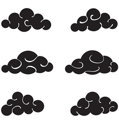 Clouds black set isolated on white background vector