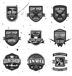 Gun shop logotypes and badges set vector