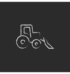 Bulldozer icon drawn in chalk vector