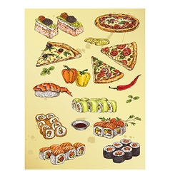 Hand drawing set of pizza and sushi vector