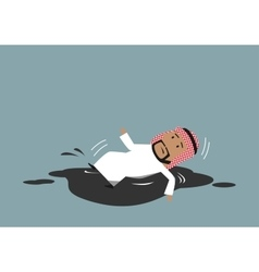 Arabian businessman falling into crude oil puddle vector