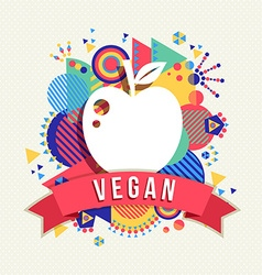 Vegan apple icon concept label with color shapes vector