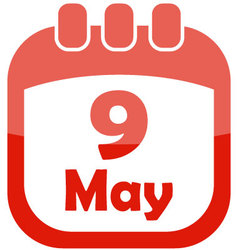 icon may 9 calendar vector image