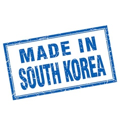 South korea blue square grunge made in stamp vector
