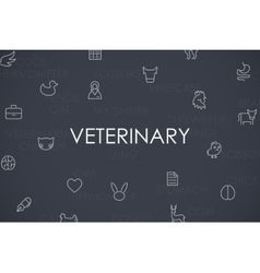 Veterinary thin line icons vector
