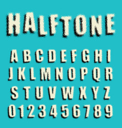 alphabet font dotted halftone design vector image
