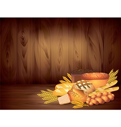 breads wood background vector image vector image