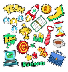 Business Idea Comic Stickers Patches Badges vector image vector image
