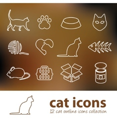 Cat outline icons vector