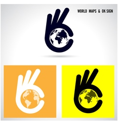 Creative hand and world map abstract logo vector