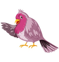 Cute bird with pink feather vector
