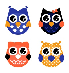 Cute Halloween owls collection isolated on white vector image vector image