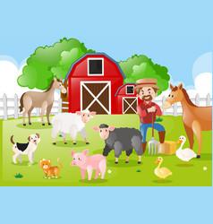 Farmer and farm animals in the farmyard vector