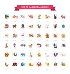 Flat design wild and domestic animals icons set vector image vector image