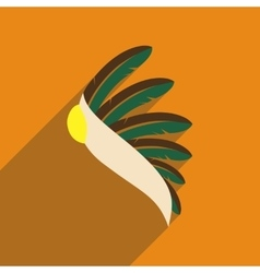 Flat web icon with long shadow indian feathers vector