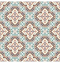 Floral Pattern Blue Brown Curve Elements vector image vector image