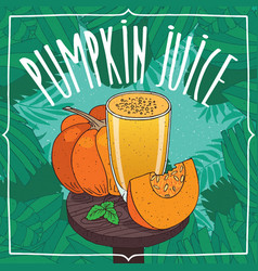 fresh pumpkin juice in glass with ripe fruits vector image vector image