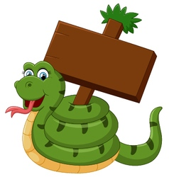 Funny snake with blank sign vector
