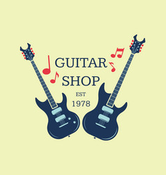 Guitar shop logo emblem with musical notes vector