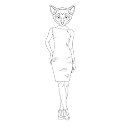 Hand draw cat girl vector image vector image