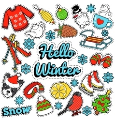 Hello Winter Stickers Badges Patches Decoration vector image vector image