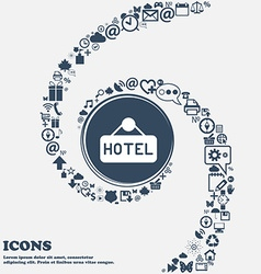 hotel icon in the center Around the many beautiful vector image vector image