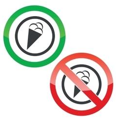 Ice cream permission signs vector