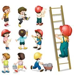 Kids working vector image vector image