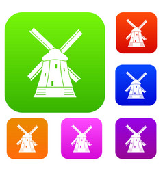 Mill set collection vector