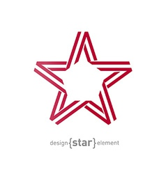 monocrome red star from ribbon vector image vector image