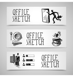 Office sketch banner set vector image vector image
