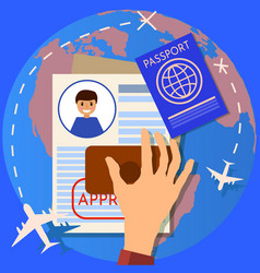 passport or visa application travel immigration vector image