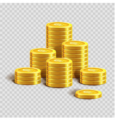 piles of shiny gold coins with dollar sign vector image vector image