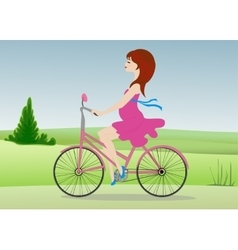 Pregnant woman rides a bicycle across the field vector