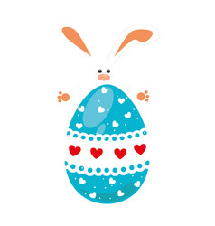 rabbit holding big easter eggs design vector image