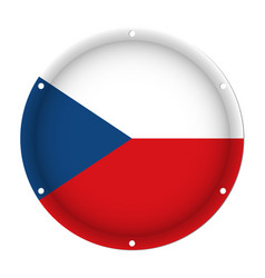 round metal flag - czech republic with screw holes vector image