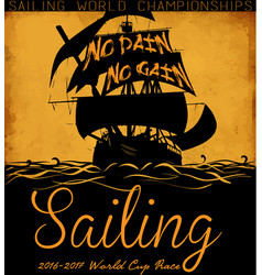 Sail boat tee graphic design vector