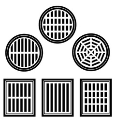 Sewer cover black symbol vector