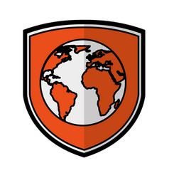 Shield insurance with world planet isolated icon vector