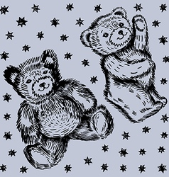 Sitting standing couple bears pattern vector image vector image