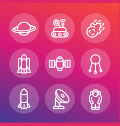 Space line icons set vector