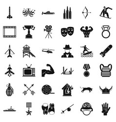 Sword icons set simple style vector
