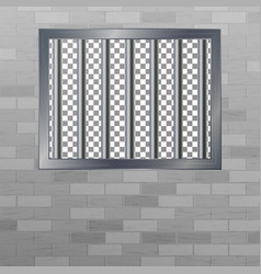 Window in pokey with bars brick wall jail vector