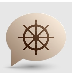 Ship wheel sign brown gradient icon on bubble vector