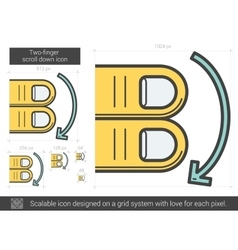Two-finger scroll down line icon vector